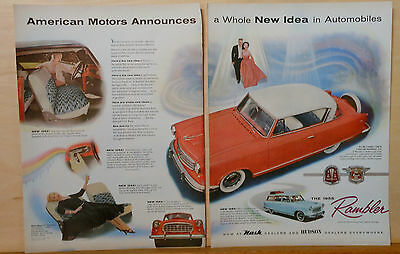 1954 two page magazine ad for Rambler - 1955 Country Club, colorful photos
