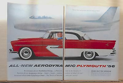 1955 two page magazine ad for Plymouth - '56 Belvedere Sport Sedan, Aerodynamic