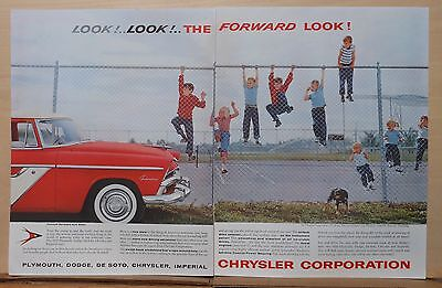1955 two page magazine ad for Plymouth - Belvedere Club Sedan at playground