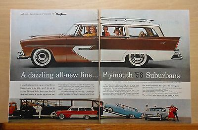 1956 two page magazine ad for Plymouth - Suburbans for 1956, Dazzling All-New
