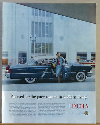 1953 magazine ad for Lincoln - Sensitively designed for our times, blue Lincoln
