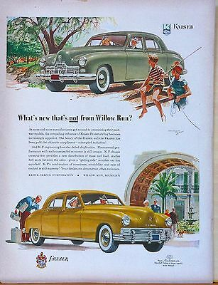 Vintage 1948 magazine ad for Kaiser Frazer Autos - K-F engineering, colorful
