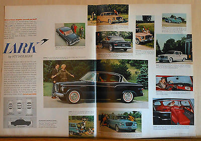 1958 double page magazine ad for Studebaker - colorful photos of Lark models