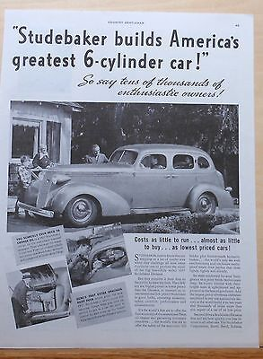 1937 magazine ad for Studebaker - America's Greatest Six Cylinder Car for 1937