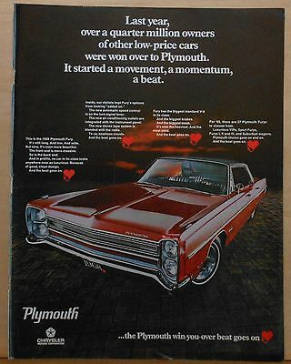 1967 magazine ad for Plymouth - 1968 Plymouth Fury, long, low and wide