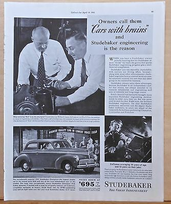 Vintage 1941 magazine ad for Studebaker - Cars with brains, 1941 Champion model