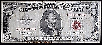 Series 1963 Five 5 Dollar Red Seal Note  A59128978A