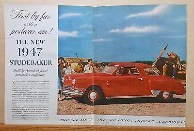 1946 double page magazine ad for Studebaker -1947 Commodore Regal De luxe Coupe