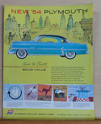 Vintage 1954 magazine ad for Plymouth - Belvedere, Under Beauty Solid Value