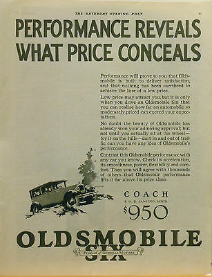 Vintage 1926  magazine ad for Oldsmobile - Olds Six Coach, Performance Proven