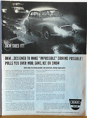 Vintage 1959 magazine ad for DKW auto, Makes Impossible drive possible, photo ad