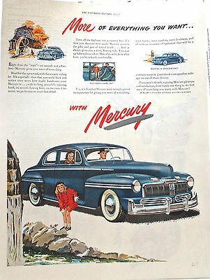 Vintage 1947 magazine ad for Mercury - blue Mercury at old mill, More Fun