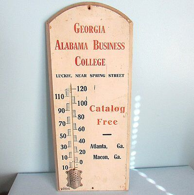 Advertising THERMOMETER Georgia Alabama Business College Wood Vintage