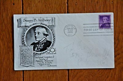 Susan B Anthony Women's Suffragette 1955 Lovely Aristocrats Cachet Fdc