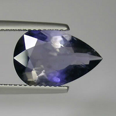 """4.72ct SHIMMERING TWIN HUE"""" PURPLE BLUE _ NATURAL IOLITE PEAR !"""