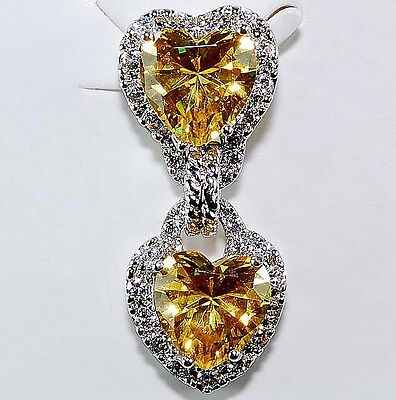 3CT Yellow Sapphire & White Topaz 925 Solid Sterling Silver Heart Pendant
