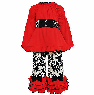 AnnLoren Toddler Girls Boutique Holiday Reindeer Tunic and Pants Outfit sz 2/3T
