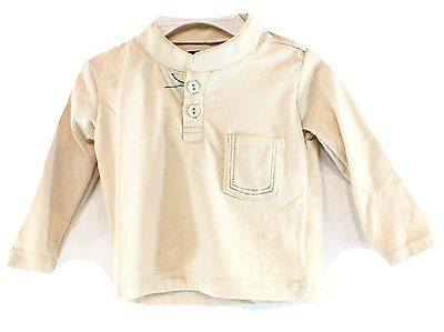 Sovereign Code NEW Beige Baby Boy's Size 3 Months Solid Henley Shirt DEAL #846