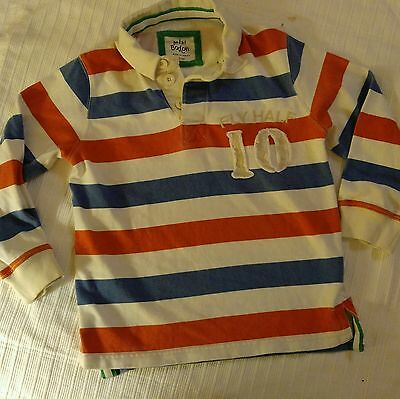 Boys, Mini Boden, Size 5-6Y Orange/White/ Blue Striped, Long Sleeved Shirt