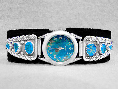Navajo Watch Turquoise Sterling Silver Sleeping Beauty Native American Indian Z