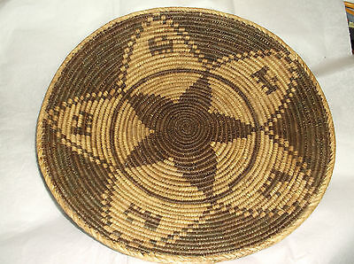 """ANTIQUE VINTAGE  INDIAN COILED BASKET LOW BOWL/tray 11"""" x 3"""""""
