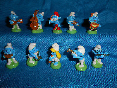SMURF MUSICIANS Set of 10 Mini Figurines French Porcelain FEVES Figures Smurfs