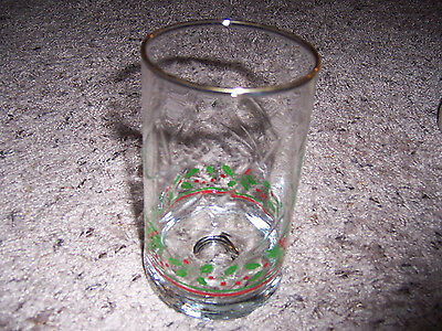 5 Arby's Swirled  Holly W/ Red Ribbon Tumblers Weighted Bottoms Marked 1985