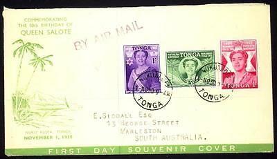 (2) Tonga 1950 FDC Queen Salote's 50th Birthday