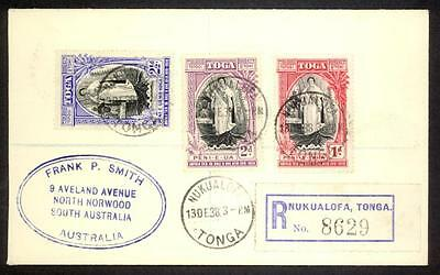 Tonga 1938 Registered Cover to South Australia Queen Salote's 20th Anniversary