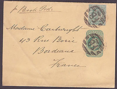 Halfpenny Postal Stationary AL/&Co  Perfin + 1/2d Green to France