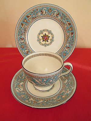 Wedgwood Bone China Florentine Turquoise Trio (Cup, Saucer & Side Plate)