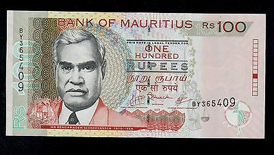 MAURITIUS  100  RUPEES  2009  BY  PICK # 56c  UNC-.  BANKNOTE.