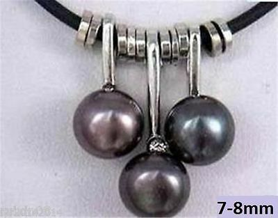 "Black Pearl Pendant Necklace 18"" Inch Cultured Freshwater "" 038"