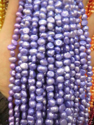 5-6mm Water Lavender Freshwater Cultured Pearl Loose Beads 13'' 042