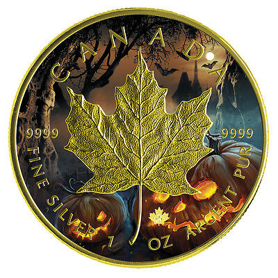 1oz Canada Maple Halloween gilded-colored 2016