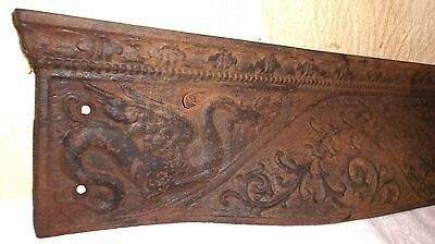 Antique 1800's Cast Iron Winged Dragon Fireplace Surround Top