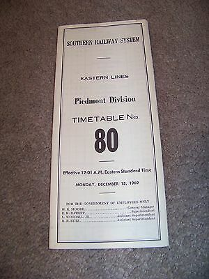 1969 SOUTHERN RAILWAY SYSTEM Eastern Line PIEDMONT DIVISION Timetable No. 80
