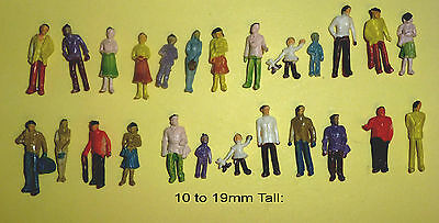 25 x 1:100 Scale People/Figures 10 to 19mm Tall: Mixed Heights: New: