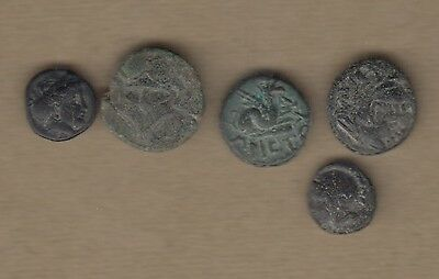 Unidentified Ancient Greek Coins Small Nice Condition And Patina
