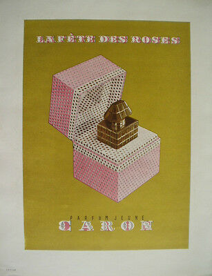 Vintage French Paper Ad 1949 Caron Perfume Lespubs