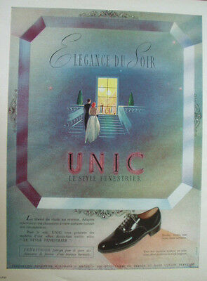 Vintage French Paper Ad 1948 Unic Shoes Lespubs
