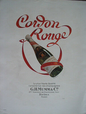 Vintage French Paper Ad 1949 Champagne Mumm Cordon Rouge Lespubs