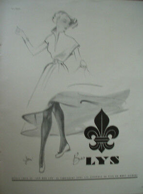 Vintage French Paper Ad 1949 Bas Lys Stockings Lespubs