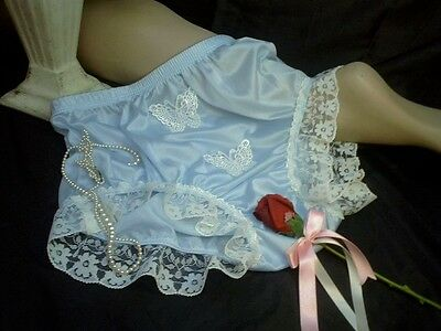 Vtg Sissy Baby Blue Nylon Frilly Lacy Full Bum Pantie Knickers Silk Butterflies