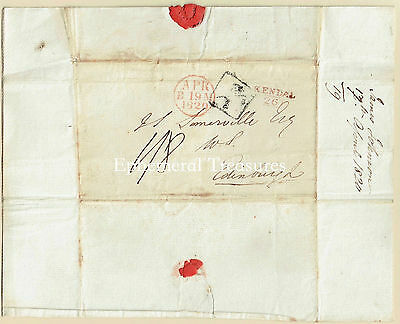 1820 entire to Edinburgh.  Kendal cancel in red with Mileage beneath