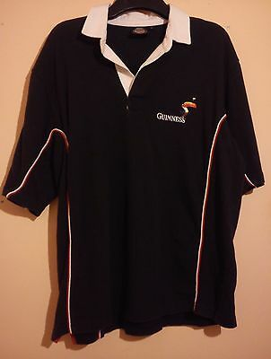 Guinness Embroidered Black Rugby Shirt Size L Large Very Good Condition