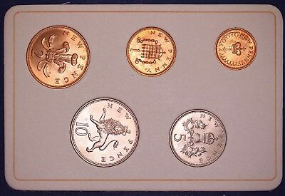 1968 Britain's first decimal coins in blue folder 1/2p to 10p coins [7261]