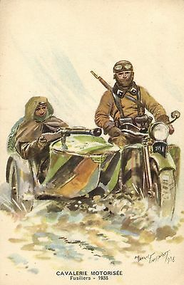 Military motorcycle side car old artist postcard