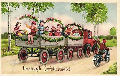 boy riding  motorcycle waving at truck old artist postcard 1920's