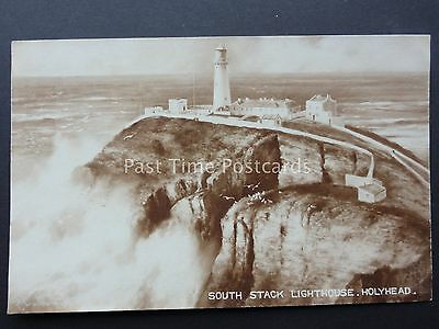 Isle of Anglesey SOUTH STACK LIGHTHOUSE Holyhead - Old RP Postcard